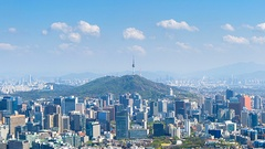 Time lapse of Cityscape in Seoul with Seoul tower and blue sky, South Korea.z Stock Footage