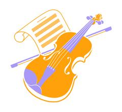 Violin  icon and music books Piirros