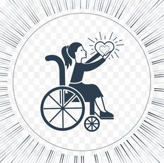 Icon disabled girl with a stroller Stock Illustration