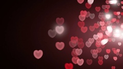 Red Hearts Romantic Overlays Backgdrop Stock Footage