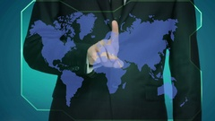 Hand touch virtual icon of social network. Larger image. World map Stock Footage