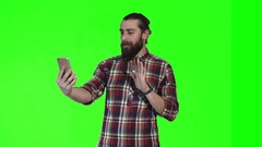 Bearded man make video call Stock Footage