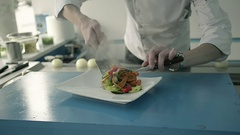 Chef in the Kitchen Cooked Vegetable Dish with Meat in Restaurant Stock Footage
