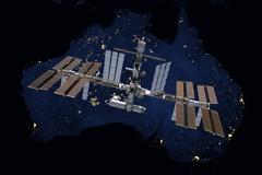International Space Station over Australia Stock Photos