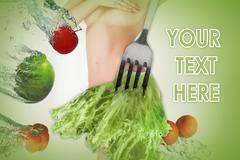 Young healthy woman with fruits. Collage Stock Photos