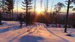 Beautiful Sunset Winter Panorama Aerial 4k Stock Footage