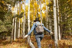 Woman hiking through rural setting, rear view, Flagstaff, Arizona, USA Stock Photos