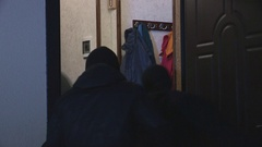 Band of burglars in mask breaking into house to commit robbery Stock Footage