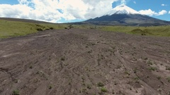 Aerial view of a volcanic lahar or mud flow  Stock Footage