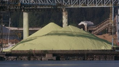Waterfront view of pile of road salt. Stock Footage