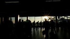 People airport silhouettes - Travel concept Stock Footage