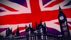 Union Jack flying behind British Parliament Stock Footage