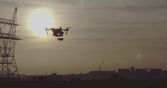 Drone Shot of Inspire 1 Drone with sunset and electricity poles in background 1 Arkistovideo