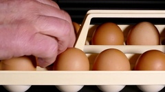 Man placing eggs into a tray. Stock Footage