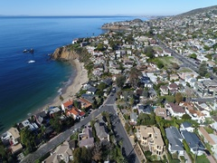 4K Laguna Beach - Flying out to Sea Stock Footage