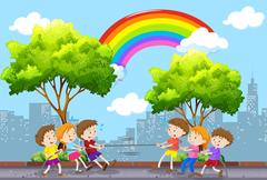 Children playing tug of war in the park Stock Illustration