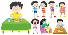 Children eating healthy and unhealthy food Piirros
