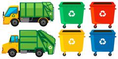 Rubbish truck and cans in four colors Stock Illustration