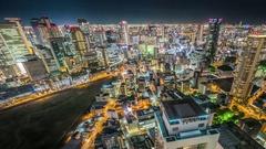 Osaka Night Top View Skyline timelapse Stock Footage