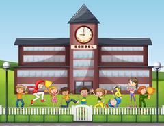 Many children playing at school Stock Illustration
