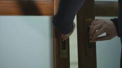 Close up of slide wooden door Stock Footage