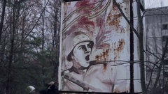 Chernobyl billboard with military calls Stock Footage