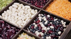 Range of different types of beans, peas, lentils, etc Stock Footage