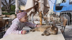 Valletta, Malta - Child girl play stroking a cat lying on street cafe table Stock Footage