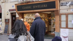 Valletta, Malta shopping people watch jewellery layout souvenirs behind glass Stock Footage