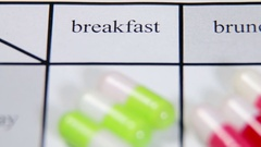 Pills are of different color on the Schedule medication Stock Footage