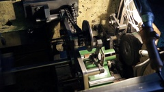 Top view of mechanism transfers details on conveyor at factory Stock Footage