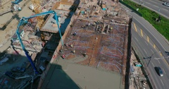 Top view, construction sight cement spill. Timelapse. Stock Footage