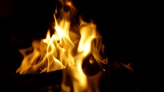 Igniting fire isolated on black background Stock Footage