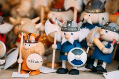 Popuar Souvenirs Ethnic Folk National Wooden Viking Dolls Toys At European Stock Photos