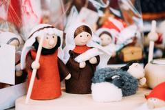Wooden Dolls Birth of Jesus At Christmas European Market. Popular Christmas Stock Photos