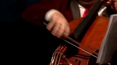 Violoncello, musician hands with cello bow Stock Footage