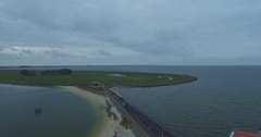 Drone shot of lighthouse in marken. Aerial shot with drone round a lighthouse Arkistovideo