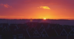 Sunset drone shot in marken with long lens Stock Footage