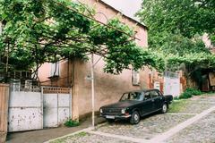 Tbilisi Georgia. Parked Black Volga GAZ Retro Rarity Car Near Private Stock Photos