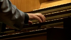 Organ, musician hands on the organ's keyboard Stock Footage