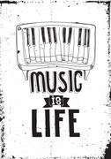 Music is life. Simple inspirational quote poster with piano Stock Illustration