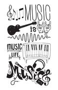Set with isolated doodle music instruments, quote Stock Illustration
