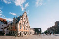 Riga Latvia. Schwabe House At Town Hall Square, Ancient Historical Landmark Stock Photos