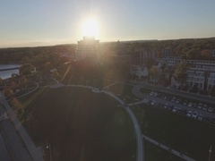 Oakville Ontario Bronte Outer Harbour Marina sunset aerial Stock Footage