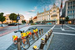 Vilnius Lithuania. Two Bicycles For Rent At Municipal Parking On Didzioji Street Stock Photos