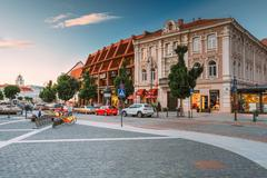 Vilnius Lithuania. View Of Didzioji Street, Ancient Showplace In Old Town With Stock Photos