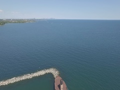 Port Credit Mississauga Toronto overlooking downtown lake Ontario 2 aerial Stock Footage