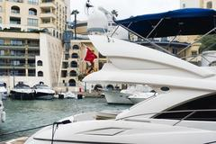 Detail of a super yacht with satellite domes and marine radar navigation system Stock Photos