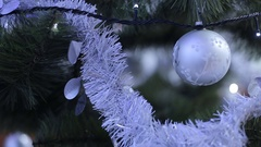 Christmas tree decorated with baubles and lights. Stock Footage
