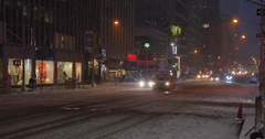 Wintry Establishing Shot Businesses on 5th Avenue in Manhattan Stock Footage